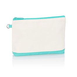 Mini Zipper Pouch in Natural (w/Turquoise) - 3013