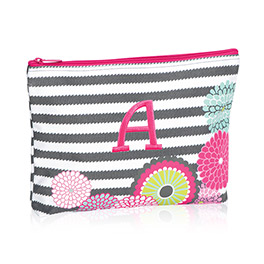 Zipper Pouch in Grey Wave w/ Bubble Bloom - 3045