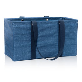 Large Utility Tote in Blue Crosshatch - 3121