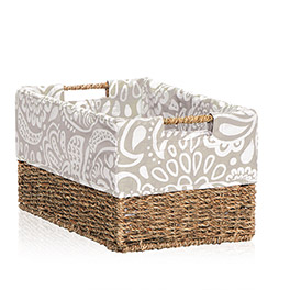 Your Way® Rectangle Basket Liner in Taupe Playful Parade - 4153