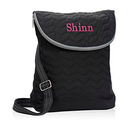 Vary You Backpack Purse in Black Quilted Chevron - 4196