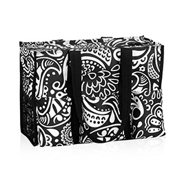 Zip-Top Organizing Utility Tote in Black Playful Parade - 4451