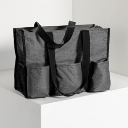 Zip-Top Organizing Utility Tote in Charcoal Crosshatch - 4451