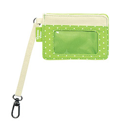 Canvas Crew Coin Purse in Natural w/ Green Swiss Dot - 4855