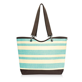 Canvas Crew Tote in Turquoise Straw Stripe - 4858