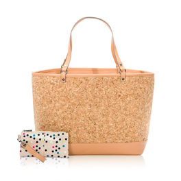 Style Setter Tote and Wristlet in Tan Metallic Cork - 6127