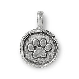 Wax Seal Charm - Paw Print in Antique Pewter - 6182