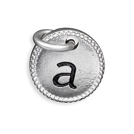 Round Initial Charm in Silver Tone Initial A - 8538