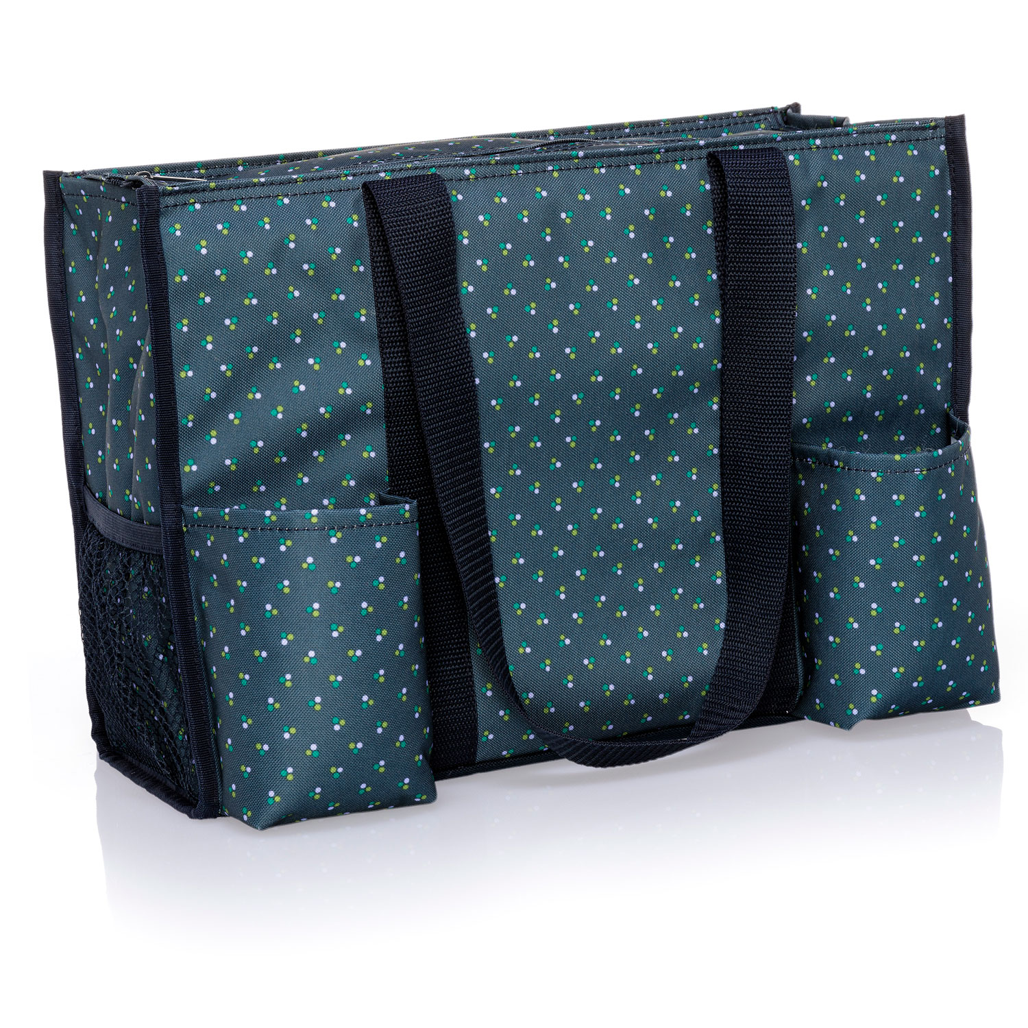 Green Cabana Stripe Zip Top Organizing Utility Tote Thirty One Gifts