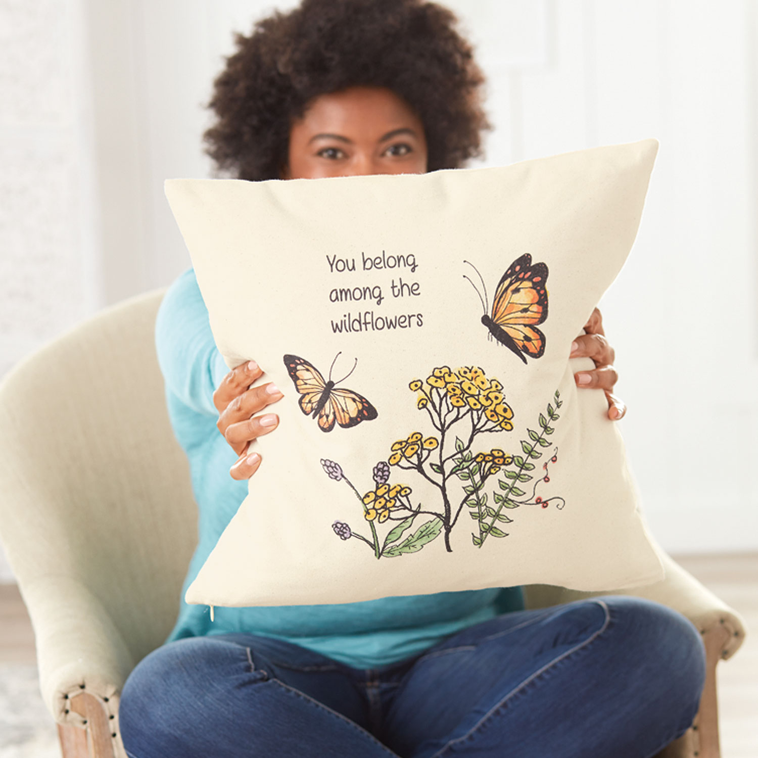 Natural - Statement Canvas Pillow Cover 18x18 - Thirty-One Gifts