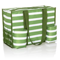 Zip-Top Organizing Utility Tote - Green Cabana Stripe