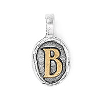 Wax Seal Charm - Two Tone Initial B