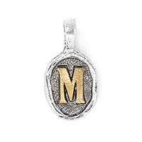 Wax Seal Charm - Two Tone Initial M