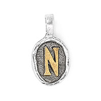 Wax Seal Charm - Two Tone Initial N