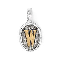 Wax Seal Charm - Two Tone Initial W