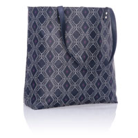 Around Town Tote - Navy Dotted Geo Pebble