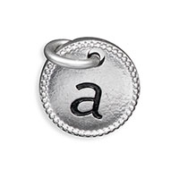 Round Initial Charm - Silver Tone Initial A