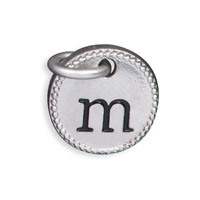 Round Initial Charm - Silver Tone Initial M