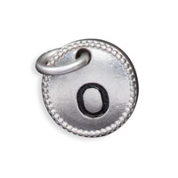 Round Initial Charm - Silver Tone Initial O