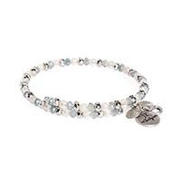 Beaded Charm Bracelet - Silver Tone