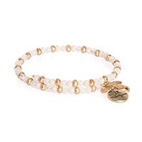 Beaded Charm Bracelet - Gold Tone