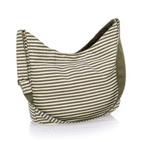 Retro Metro Hobo Crossbody - Olive Twill Stripe