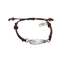 Feather Cord Bracelet - Silver Tone