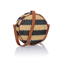 Roundabout Crossbody - Navy Striped Straw