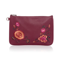 Rubie Mini - Deep Merlot Pebble w/ Floral Embroidery