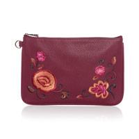 Rubie Mini - Deep Merlot Pebble w/ Floral Embroidery