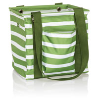 Small Utility Tote - Green Cabana Stripe