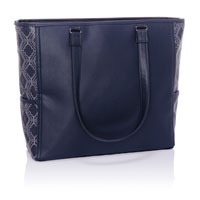 Cindy Tote Ltd. - Navy Dotted Geo Pebble