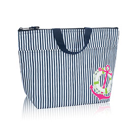 Thermal Tote - Navy Pinstripe w/ Anchor