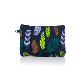 Mini Zipper Pouch - Falling Feathers