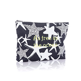Zipper Pouch - Navy Starfish Splash