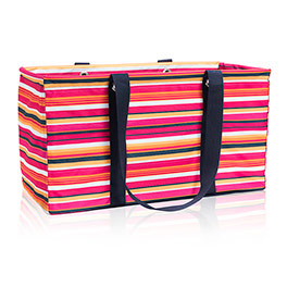 Large Utility Tote - Pinstripe Punch