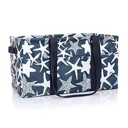 Deluxe Utility Tote - Navy Starfish Splash