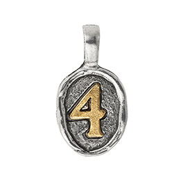 Wax Seal Charm - Two Tone Number 4