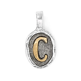 Wax Seal Charm - Two Tone Initial C