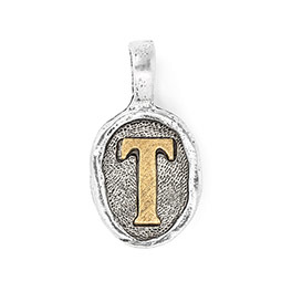 Wax Seal Charm - Two Tone Initial T