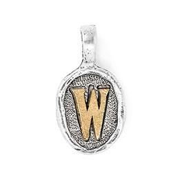 Wax Seal Charm - Two Tone Initial W