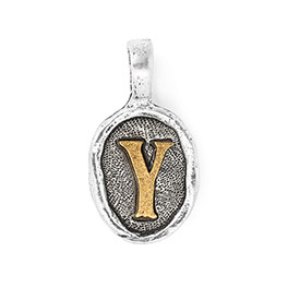 Wax Seal Charm - Two Tone Initial Y