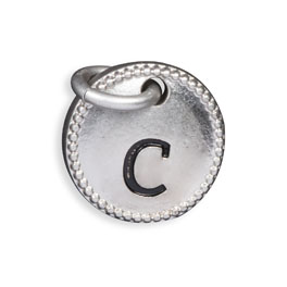 Round Initial Charm - Silver Tone Initial C