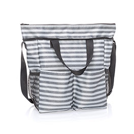 Crossbody Organizing Tote - Scribble Stripe