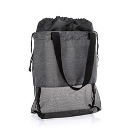Mesh Mix Cinch Bag - Charcoal Crosshatch
