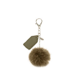 Finishing Touch Bag Charm - Olive Pom