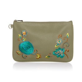 Rubie Mini - Ooh-la-la Olive Pebble w/ Floral Embroidery