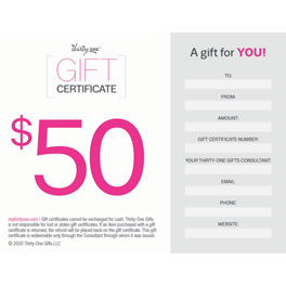 Gift certificates thirty one gifts gift certificate 50 dollar negle Images