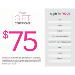 *Gift Certificate--75 dollar