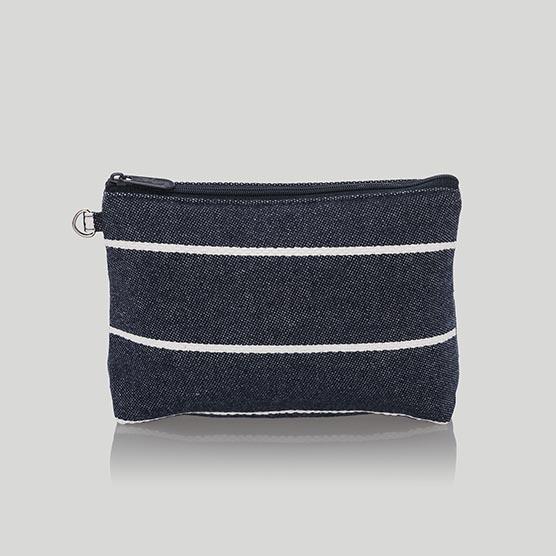 Mini Zipper Pouch - Navy Wide Stripe